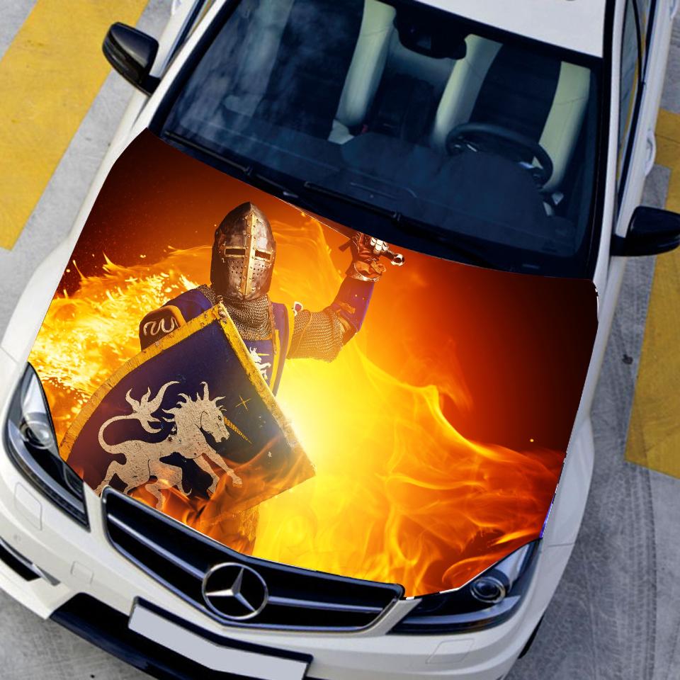 DIY Car Creative Waterproof HD Inkjet Head Sticker Paint Protection Film Car Hood Sticker Roman Gladiator Anime Car Hood Decal(China (Mainland))