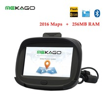 2016 Newest 4.3 inch 256MB RAM Motorcycle Car Bicycle GPS Navigation–Waterproof IPX7,Bluetooth, Free Latest Maps