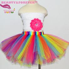 fluffy tutu skirt 1-8 years Colorful rainbow tulle skirt  girl fluorescence blue hot pink orange purple girls tutu skirts