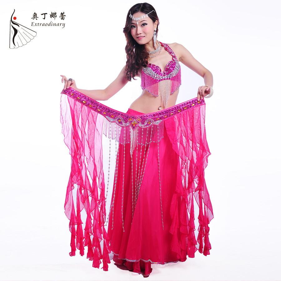 Belly-Dance-Costume-Set-3-Pieces-Bra-Belt-Skirt-S-M-L-Size ...