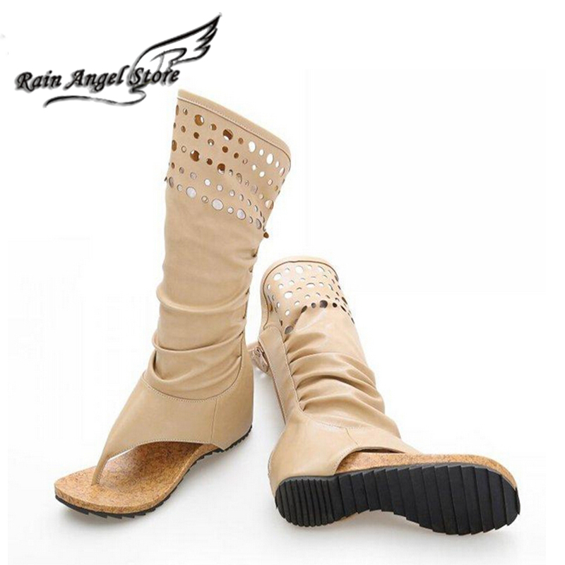 new fashion summer clip toe high boots hollow subnetwedge