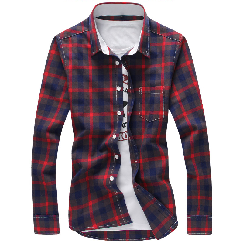 Pure cotton 2016 men's fashion boutique grid slim leisure long-sleeved shirts / Male big size grid business long-sleeved shirts(China (Mainland))