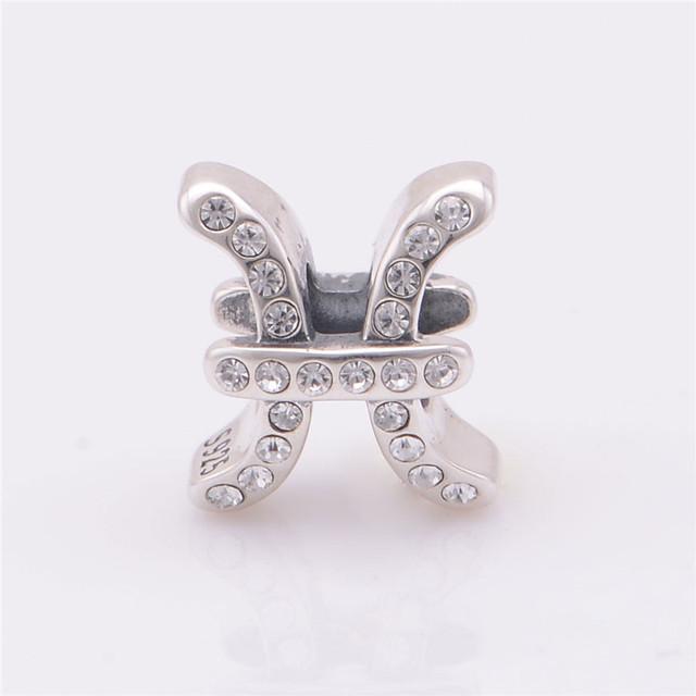 Лаки знак 925 чистое серебро Jewerly рыбы спейсерной бусины с камнями камни подходят европейский подвески-талисманы браслеты для женщины своими руками