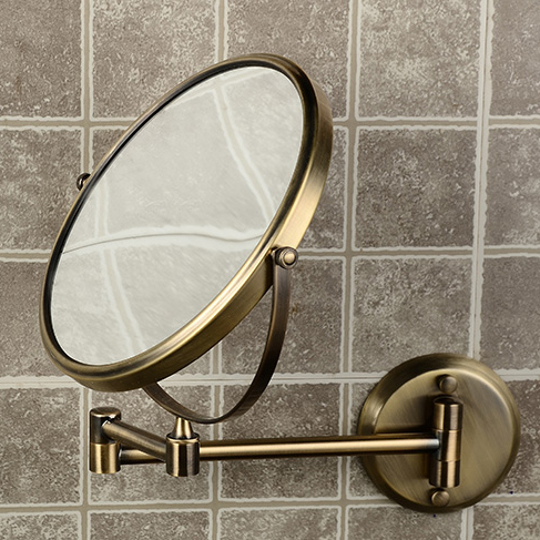 8 Double Side Bathroom Folding Brass Shave Makeup Mirror Antique Bronze Wall Mounted Extend