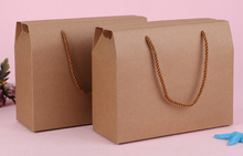10pcs/lot Kraft Paper Bag 25*10*20cm Dessert Cake packaging Boxes, Food Bread Biscuit container bags