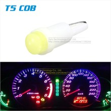 50x T5 COB Led Ceramic Dashboard Gauge Instrument Wedge Base Car Auto Side Wedge Light Lamp Bulb 12V White/Blue/Red/Yellow(China (Mainland))