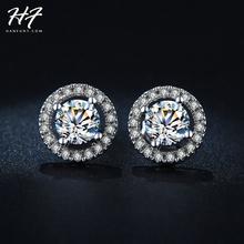 18 K oro blanco plateado corazones y flechas cortan 0.75 quilates AAA + CZ Diamond pendiente del perno prisionero pendientes de boda para para E836