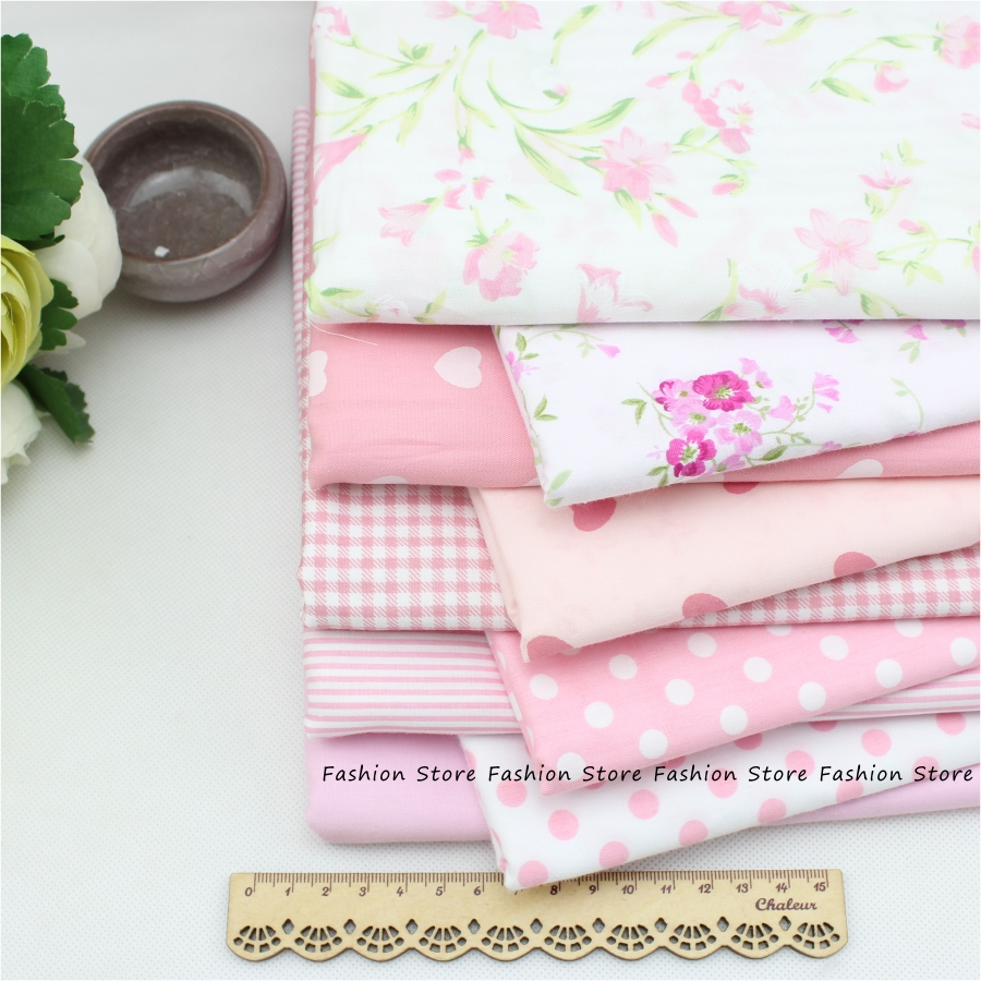Rural floral cotton fabric pink cotton textile fabric for Sewing patchwork crafts 9 pcs Manual cloth Tilda Cloth 40*50cm