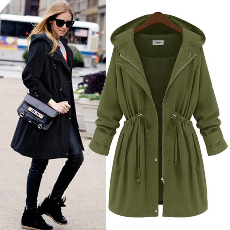 2016 Long Thin Send Belt Turn-Down Collar Hooded Trench Coat New Spring And Summer Women Slim Fashion Many Colors Outdoor(China (Mainland))