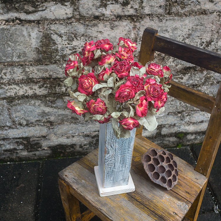 Withered roses do old wood vases Dried artificial flowers simulation flower set items furnishing articles home decorations(China (Mainland))
