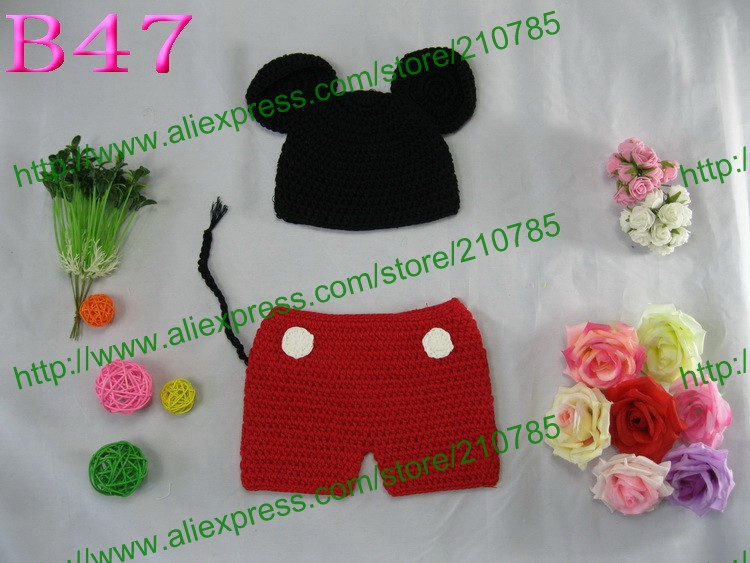 Free shipping,30 set/lot Baby Luv Crochet Red Minnie Mouse Inspired Hat and Diaper Cover/ PHOTO PROPS(China (Mainland))