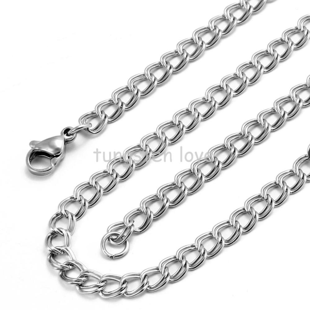 22 inch New High Polished men Stainless Steel Chain Double Cable Link Chain Necklace Silver Color (with Gift Bag)(China (Mainland))