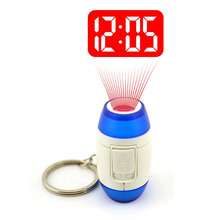 Mini Led Laser Projection Time Clock Light Projection Super bright red Alarm Clock Projector Flashlight Torch Stainless Keychain(China (Mainland))