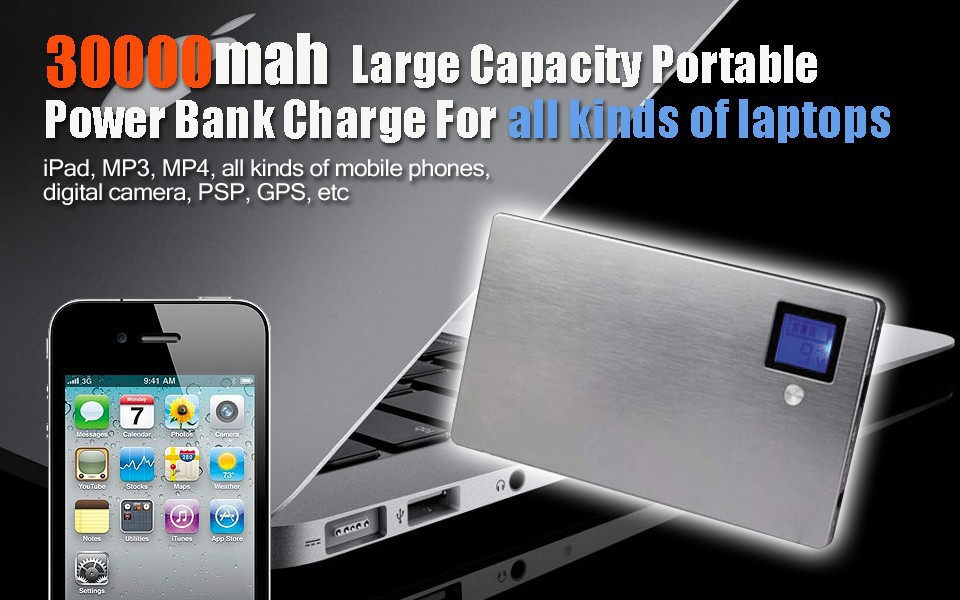 Real 30000mah Laptop power bank, external battery pack ,best quality, charge laptops mobile phone, samsung etc(China (Mainland))