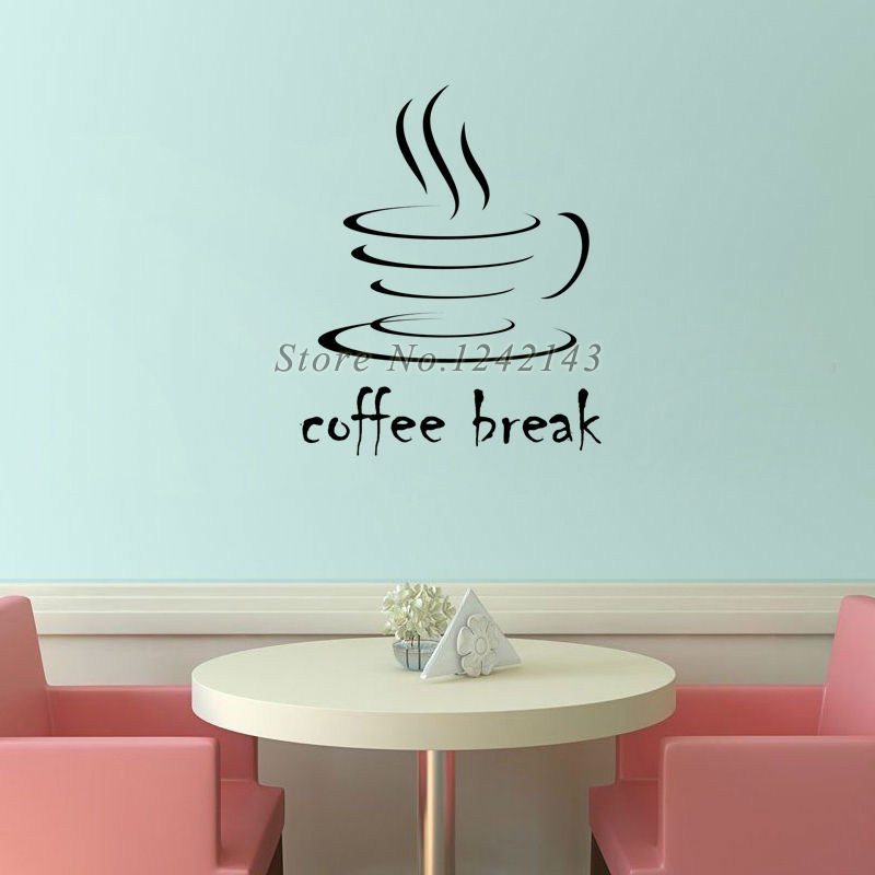 Creative Simple Design DIY Wall Stickers Waterproof Vinyl Art Wall Decals Coffee Home Decor Removable