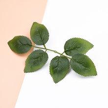Искусственные растения с зелеными листьями, 6 шт., дешевые шелковые розы, декоративные цветы, венки для скрапбукинга, Подарочная коробка, иск...(Китай)
