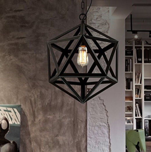 Retro industrial American country style wrought iron chandelier creative personality polyhedral diamond chandelier engineering L(China (Mainland))