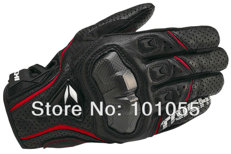 RS TAICHI 390 RST390 Motorcycle Gloves Leather Carbon Sport Racing gloves Armed Leather Mesh riding off-road gloves black/red(Hong Kong)