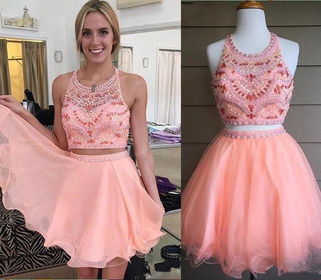 2016 corto tutú de dos piezas Vestidos baile para adolescentes partido Ruffles Pink vestido con diamantes