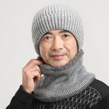 The elderly wool knitted hat scarf muffler set male winter cap male neck protection knitted hat pocket hat new year father gift(China (Mainland))