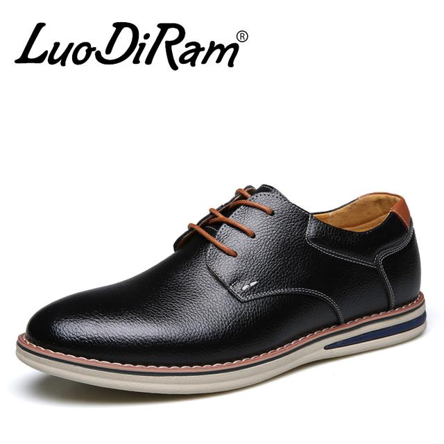 LuoDiRam Модного бренда Мужская Кожаная Обувь, высокое Качество Мужчин Повседневная ...