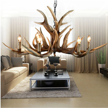 2016 New 6/8 Heads American Retro Pendant Lamp Europe Country Fixture Resin Deer Horn Antler Lampshade Decoration, E14 110-220V(China (Mainland))