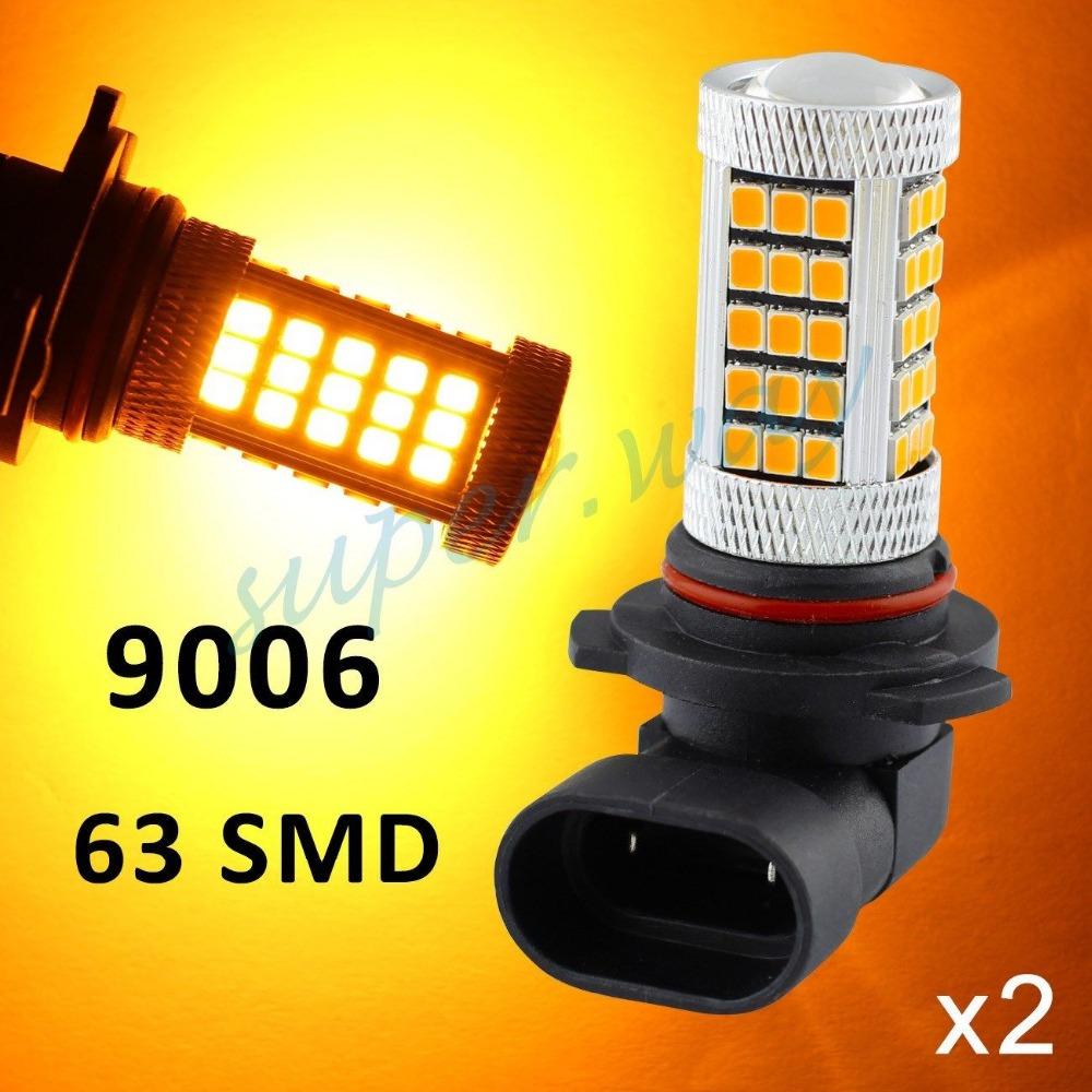 2x Yellow/Amber 9006 HB4 63-SMD Car Driving Fog Light LED Bulb Lamp Lens 30W Bright Than 33 SMD Light(China (Mainland))