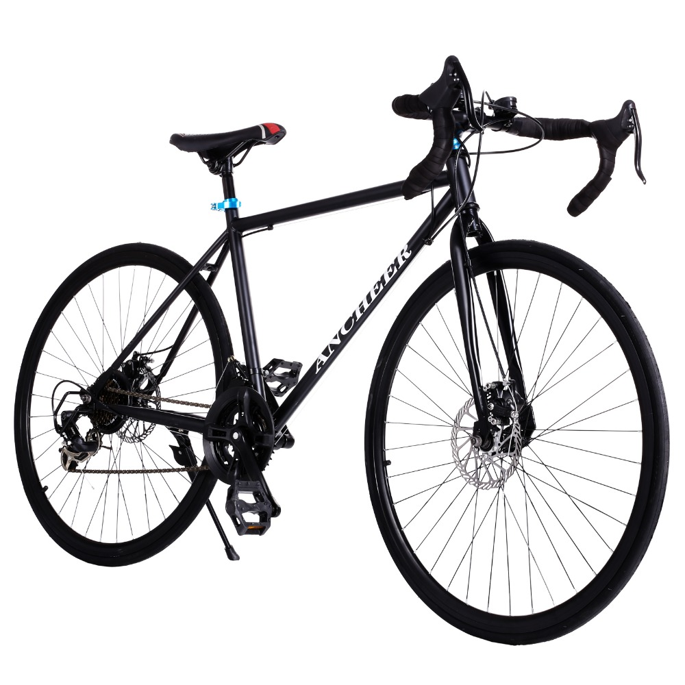 2017 Brand new road bike Black bicycle 700C Aluminum Alloy Frame 21 Speed Road/Commuter Bike Double Disc Brake Bicycle Black(China (Mainland))