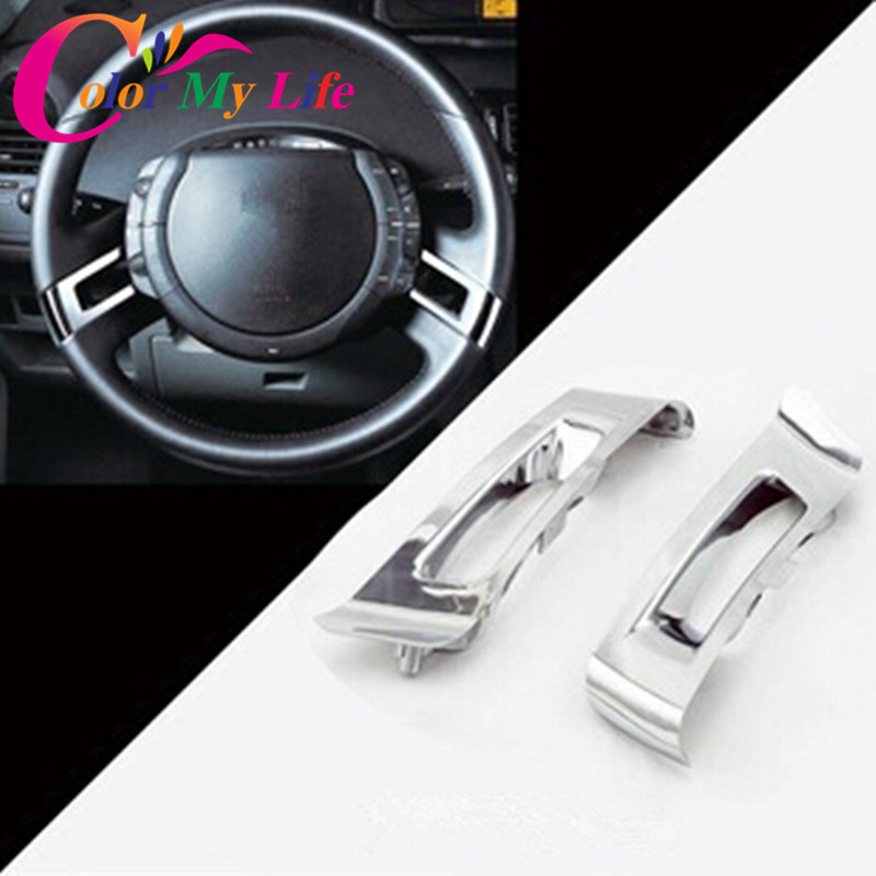 2pcs ABS Chrome Steering Wheel Decoration Parts For Citroen C-Quatre 2012 Steering Wheel Plating Decorative Stickers(China (Mainland))