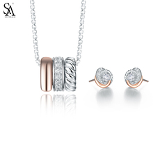 Buy SA SILVERAGE 925 Sterling Silver Crystal Necklaces Pendants for Women Small Zircron Stud Earrings Fine Jewelry Pulseira feminina for $65.79 in AliExpress store