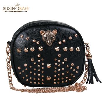 Leopard Head Rivets Shoulder Bags European and American Style Women Leather Handbags Women Messenger Bags