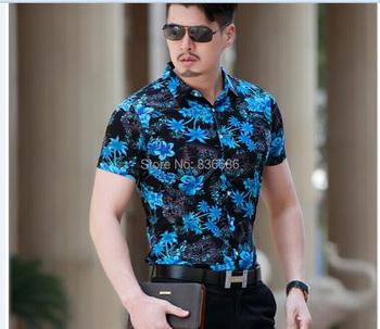 2015 Latest fashion casual men summer flowers hawaiian short sleeve cotton shirt