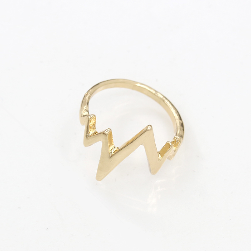 Lightning Ring ECG Heartbeat Rings Gold Silver Black Charm Women Men Fashion Jewelry Finger Accessories(China (Mainland))