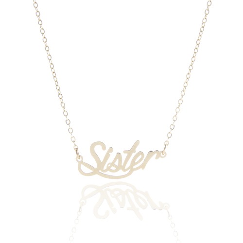 """Elegant Carrie Front Name Necklace Gift Personalized """" Sister """" 14k Gold & Silver Plating Statement Nameplate Necklace ,NL-2423(China (Mainland))"""