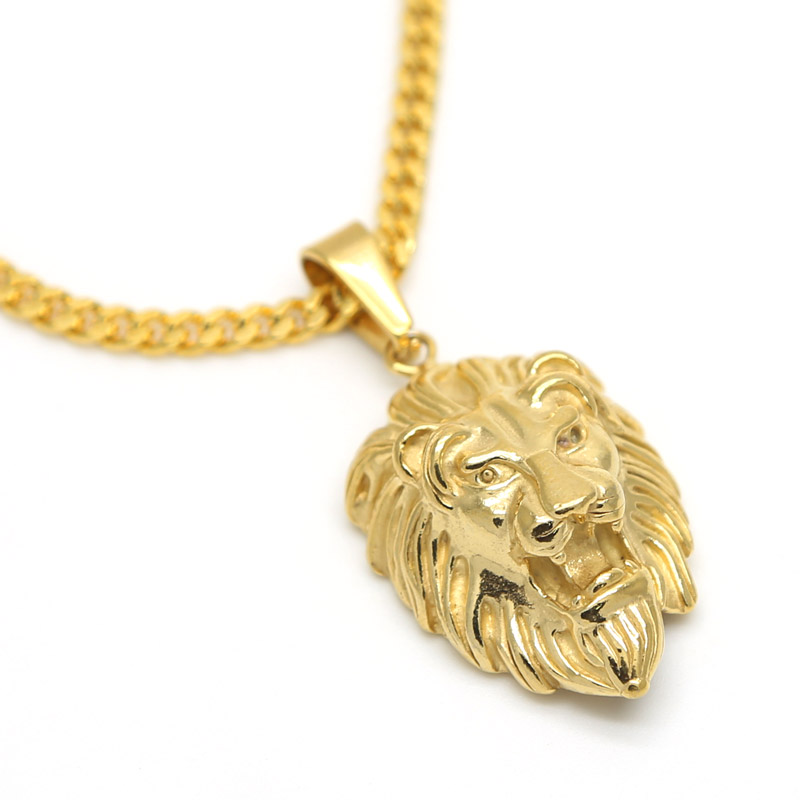 Lion Head pendants necklace High Quality Fashion Hiphop 70cm long 18K Gold Plated Rock statement necklace Gold Chain Men Jewelry()
