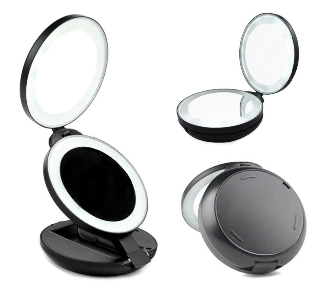 led lighted travel makeup mirror double sided compact folding cosmetic. Black Bedroom Furniture Sets. Home Design Ideas