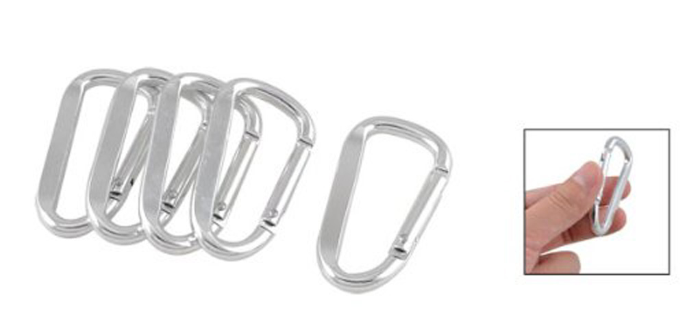 Гаджет  Como 5 Pcs Silver Tone D Shaped Aluminum Alloy Carabiner Hook Keychain None Изготовление под заказ