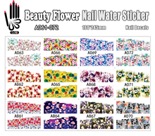 12 Sheets/Lot Nail Beauty A061-072 Mix Flower Full Cover Nail Art Water Sticker Decal For Nail Water Tip (12 DESIGNS IN 1)(China (Mainland))