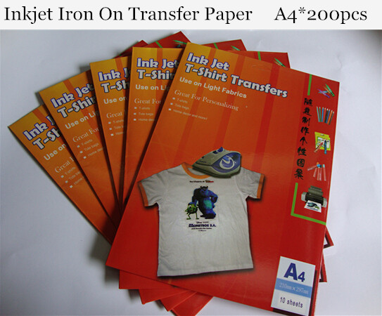 (A4*200pcs) Iron On Heat Transfer Paper For T shirts Iiron on Tshirt Transfers Paper Iron on Clothing Stickers HT-150EX(China (Mainland))