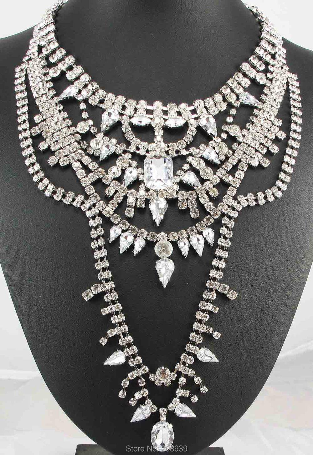 Newest Handmade Fashion Bohemia Acrylic Glass Rhinestone Pendants Bib Statement Women Choker Necklaces Q1012(China (Mainland))