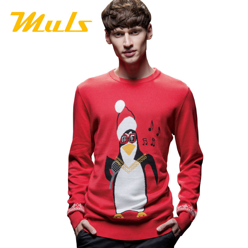 Unisex ugly christmas sweater for men and women polo pullover small horse cotton O neck jacquard