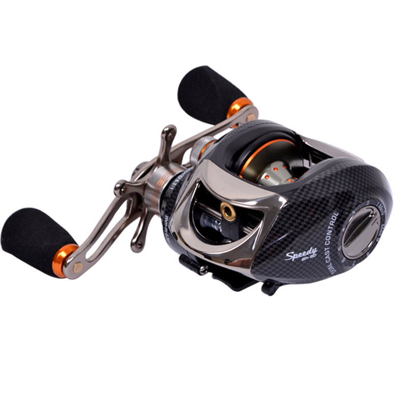 Superb fried line magnetometric 14 shaft 6.3:1 drop round double brake right hand bait casting fishing reel(China (Mainland))