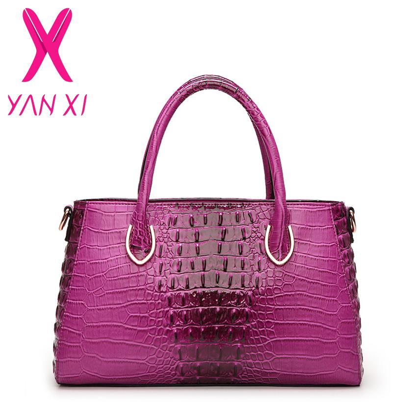 Hot Selling European and American Style Fashion Women Handbag Luxury Patent Leather Alligator Purple Women Messenger bag(China (Mainland))