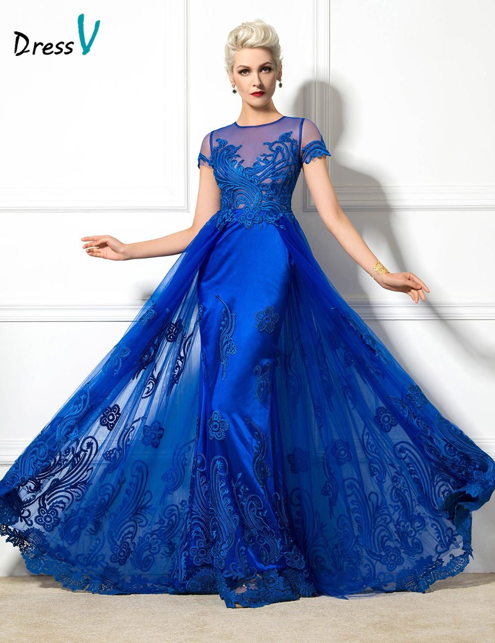 Dressv 2016 Jewel Neck Short Sleeve A-Line evening dress Appliques long elegant sexy lace up party girls Evening Dress(China (Mainland))