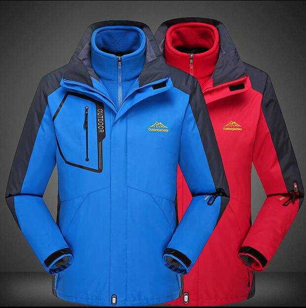 Hot Sale 3 in 1 Outdoor Waterproof Climbing Skiing Jacket Windbreaker Men Warm Breathable Windproof Sport Outdoor Coat Jackets