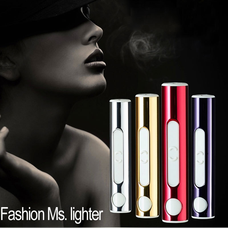 High Quality Newest Mini usb charge lighter Fashion Windproof Flameless Lighters Funny Gadget Gift For Woman
