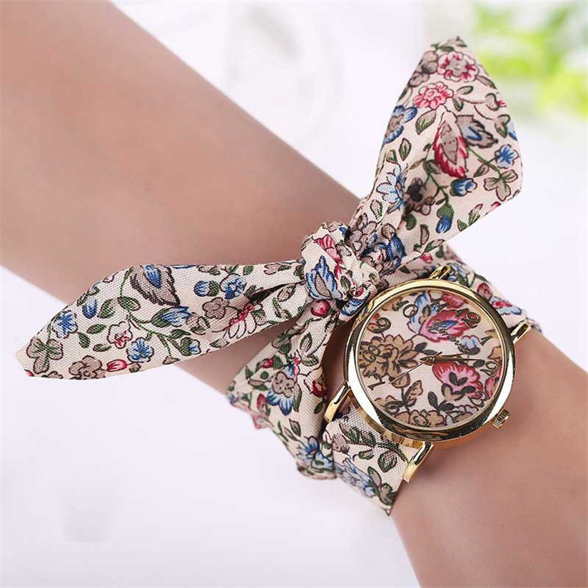 Hot Marketing Women Bracelets Rose Cloth Band Quartz Analog Wrist Watches Watch Pink Gift Jun9(China (Mainland))