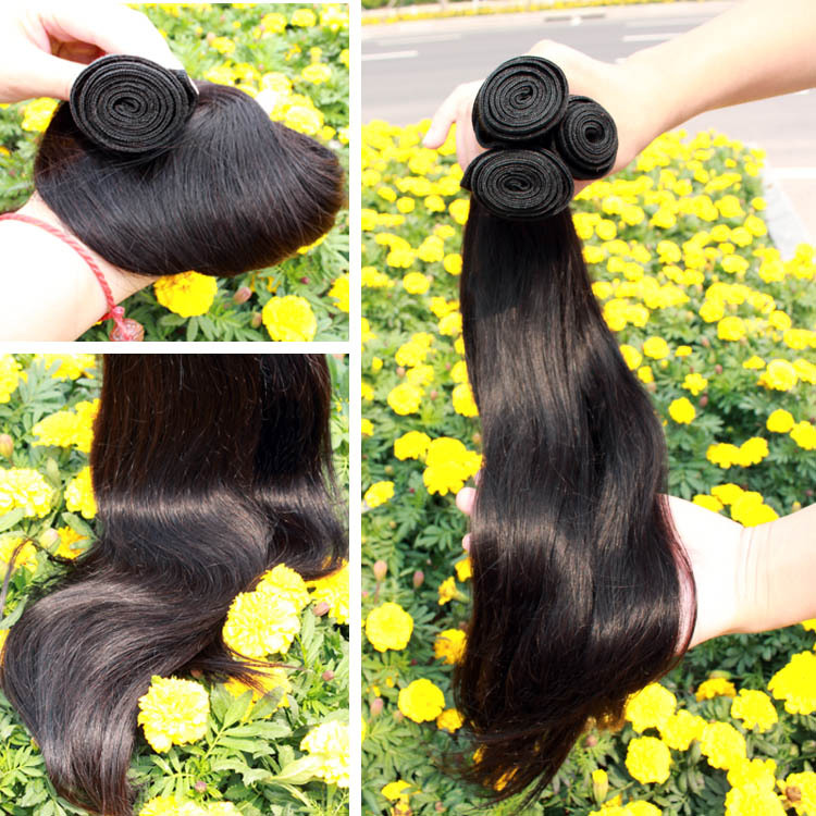 "REMY Queen Hair Products Straight Brazilian Virgin Hair Weft 6A Top Quality Unprocessed Human Hair Extensions 8"" -30"" 3pcs/lot(China (Mainland))"