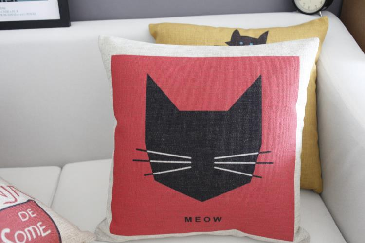 Cartoon Fresh cat pillow kitty Pillow cushion Linen pillowcase cushion home decor sofa cushion decorative Pillows
