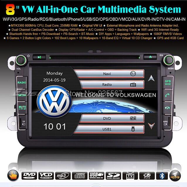 WBT8015V MTK 8 inch 2-Din VW GOLF 5 6 PASSAT CC TIGUAN Sharan EOS Caddy Jetta SEAT GPS 3G IPOD TV Radio BT Car Sat Nav - WeBeStar Autoradio Shop store